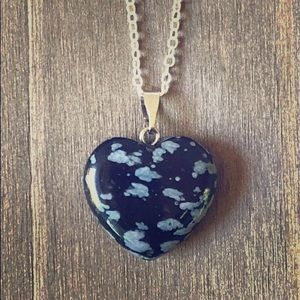 Snowflake Obsidian Gemstone Heart Necklace 18""